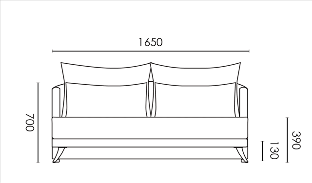 カーサカーサの3人掛ソファー寸法の図